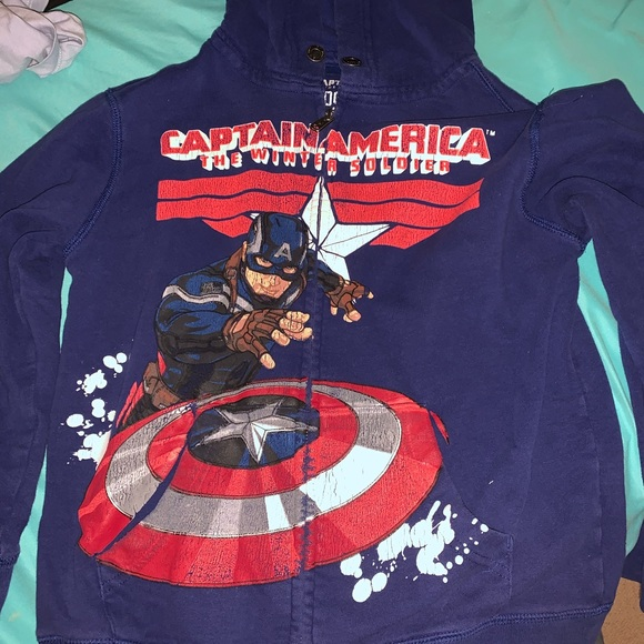 NEW MARVEL Captain America KIDS BOYS ZIP UP HOODED JACKET